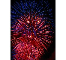 Red and Blue Fireworks Photographic Print