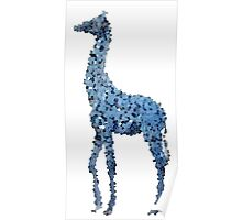 Tall blue land horse on a pixel journey  Poster