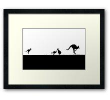 Kangaroos silhouettes at Sunset Framed Print