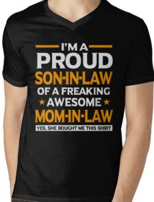 Proud Son In Law Mom In Law T-Shirt Mens V-Neck T-Shirt