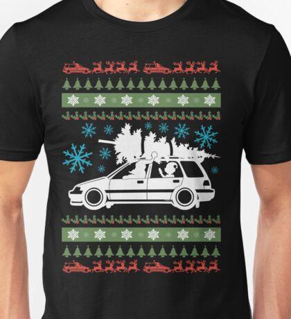 Xmas Wagon with Tree Santa and Elf Unisex T-Shirt