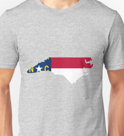 North Carolina outline with flag Unisex T-Shirt