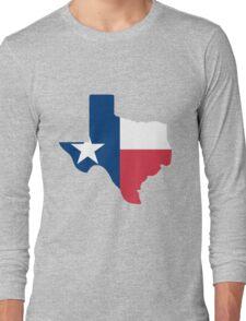 Texas outline with flag Long Sleeve T-Shirt
