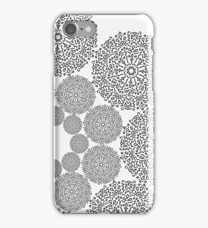 Black lace flower pattern on white background iPhone Case/Skin