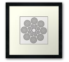 Black lace flower pattern on white background Framed Print