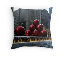 A Christmas Card from New York City - a 5th Avenue Fountain with Giant Red Balls Throw Pillow