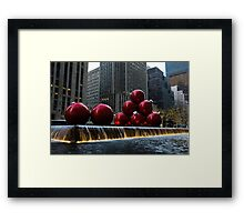 A Christmas Card from New York City - a 5th Avenue Fountain with Giant Red Balls Framed Print
