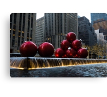 A Christmas Card from New York City - a 5th Avenue Fountain with Giant Red Balls Canvas Print