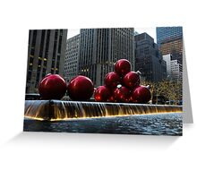 A Christmas Card from New York City - a 5th Avenue Fountain with Giant Red Balls Greeting Card