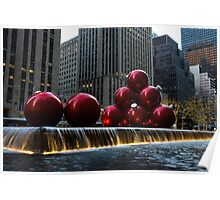 A Christmas Card from New York City - a 5th Avenue Fountain with Giant Red Balls Poster