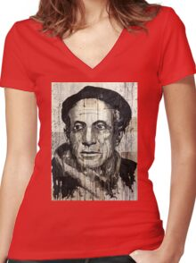 old book drawing famous people picasso bablo Women's Fitted V-Neck T-Shirt
