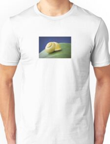 Snail with shell on leaf in detail Unisex T-Shirt