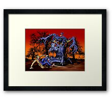 Weird Cursed British blue Phone box Monster Framed Print
