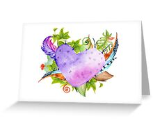 Purple cactus in the shape of a heart. Greeting Card