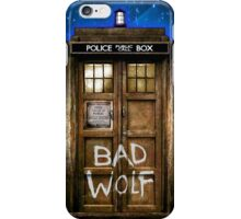 Old Rustic wood Phone box with Bad Wolf typograph iPhone Case/Skin