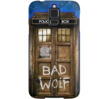 Old Rustic wood Phone box with Bad Wolf typograph Samsung Galaxy Case/Skin