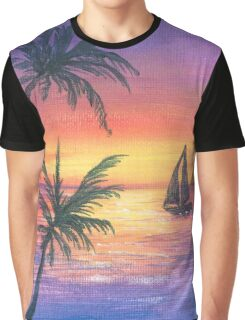 Glowing Purple Tropical Sunset and Boat Graphic T-Shirt