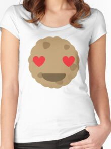 Cookie Emoji Heart and Love Eyes Women's Fitted Scoop T-Shirt