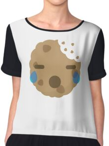Cookie Emoji with Teary Eyes and Sad Look Chiffon Top