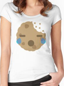 Cookie Emoji with Teary Eyes and Sad Look Women's Fitted Scoop T-Shirt
