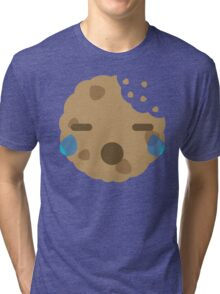 Cookie Emoji with Teary Eyes and Sad Look Tri-blend T-Shirt