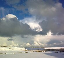 holy island in the snow by ineedacoffee