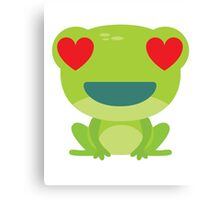 Frog Emoji Heart and Love Eyes Canvas Print