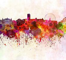 Sheffield skyline in watercolor background by paulrommer