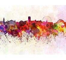 Sheffield skyline in watercolor background Photographic Print