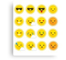 Sun Emoji 16 Different Facial Expressions Canvas Print