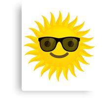 Sun Emoji Happy Smiling Face with Sunglasses Canvas Print