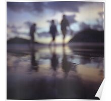 Silhouette of people walking on beach dusk sunset evening sky Hasselblad medium format film analogue photo Poster