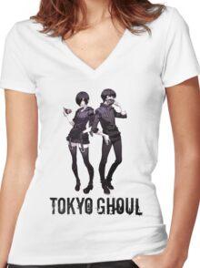 Anime: TOKYO GHOUL - Kaneki & Touka Women's Fitted V-Neck T-Shirt
