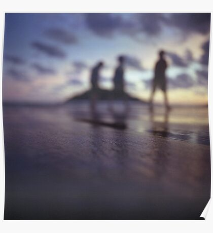 Chillout silhouette of people walking on beach dusk sunset evening sky Hasselblad medium format film analogue photo Poster