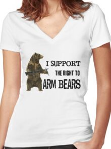 I Support the Right to Arm Bears, Grizzly Bears Women's Fitted V-Neck T-Shirt
