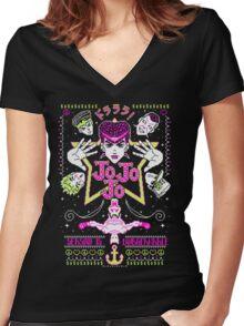 JOJOJO! Season is Unbreakable NEON VER. Women's Fitted V-Neck T-Shirt