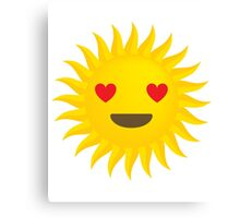 Sun Emoji Heart and Love Eyes Canvas Print