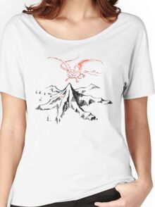Red Dragon Above A Single Solitary Peak - Fan Art Women's Relaxed Fit T-Shirt