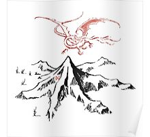 Red Dragon Above A Single Solitary Peak - Fan Art Poster
