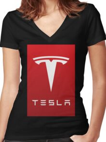 tesla the electric Women's Fitted V-Neck T-Shirt
