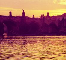 Swan, The Charles Bridge (Karlův Most) Prague, Kodachrome 64 Sticker