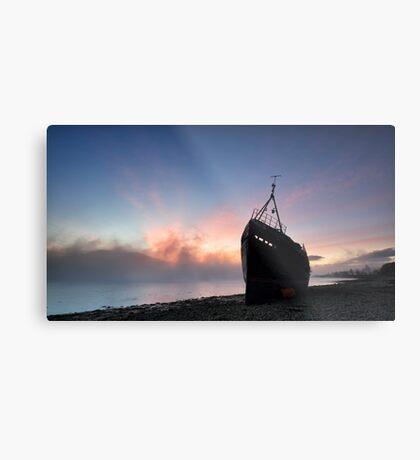 Loch Linnhe Misty Shipwreck Metal Print