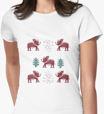Elephants, trees and flowers. Womens Fitted T-Shirt