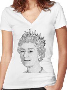 Queen Elizabeth II Women's Fitted V-Neck T-Shirt
