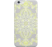 Pale Lemon Yellow Lace Mandala on Grey iPhone Case/Skin