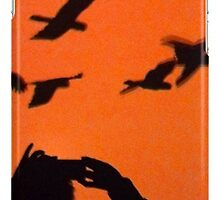 Red Sunset with Birds by Saren Dobkins
