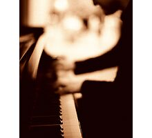 Pianist plays piano music in wedding marriage party silver gelatin black and white 35mm negative analog film sepia photo  Photographic Print