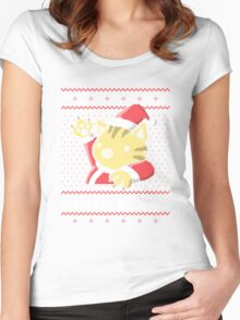 Cat Santa Claws Women's Fitted Scoop T-Shirt