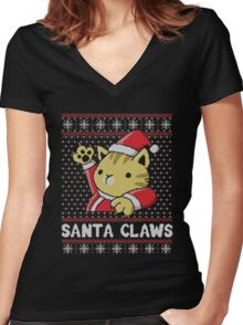 Cat Santa Claws Women's Fitted V-Neck T-Shirt