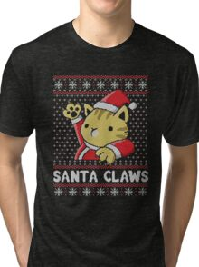 Cat Santa Claws Tri-blend T-Shirt